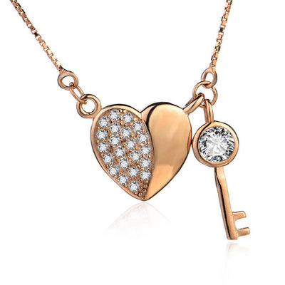 Rose Gold Plated over Sterling Silver Cubic Zirconia Heart and Key Pendant Necklace - ABC Necklace