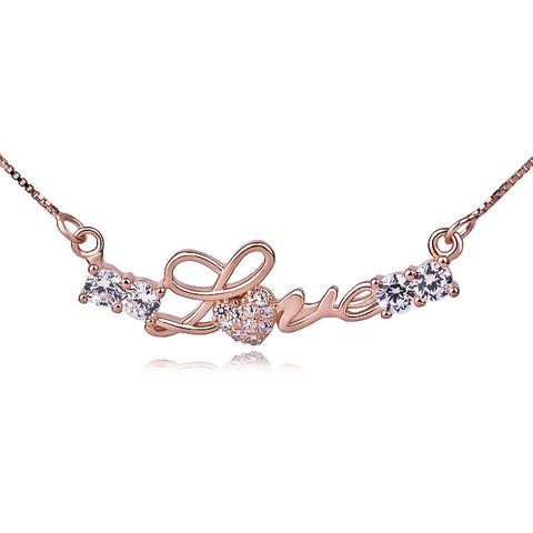 Rose Gold Plated over Sterling Silver Cubic Zirconia Love Necklace with Box Chain - ABC Necklace