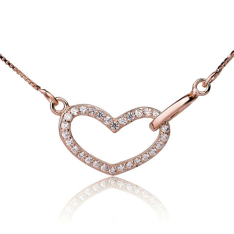 "Rose Gold Plated over Sterling Silver Microsetting Heart Pendant Necklace with 16""+2"" Box Chain - ABC Necklace"