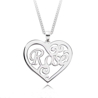 Sterling Silver Personalized Name Necklace in Heart Design - ABC Necklace