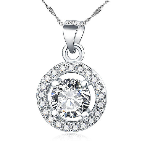 "Sterling Silver Micro Setting Circle Pendant Necklace with Zirconia in the Center 18"" - ABC Necklace"