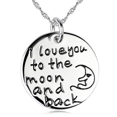 Sterling Silver I Love You To The Moon And Back Engraved Round