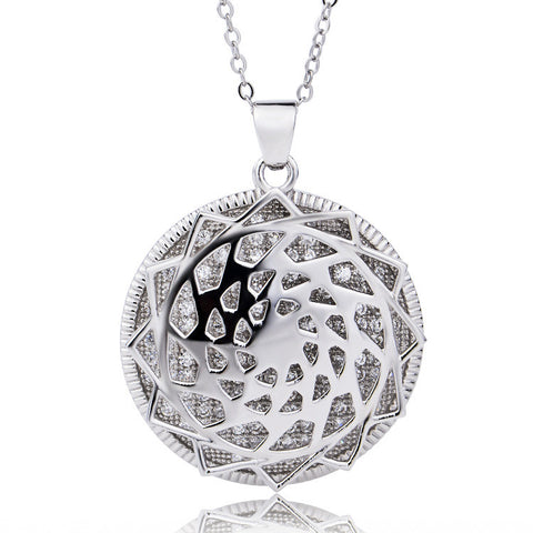"Sterling Silver Filigree Locket Pendant Necklace, 18"" - ABC Necklace"