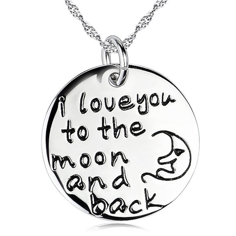 "Sterling Silver ""I Love you to the moon and back"" Engraved Round Pendant Necklace 18'' - ABC Necklace"