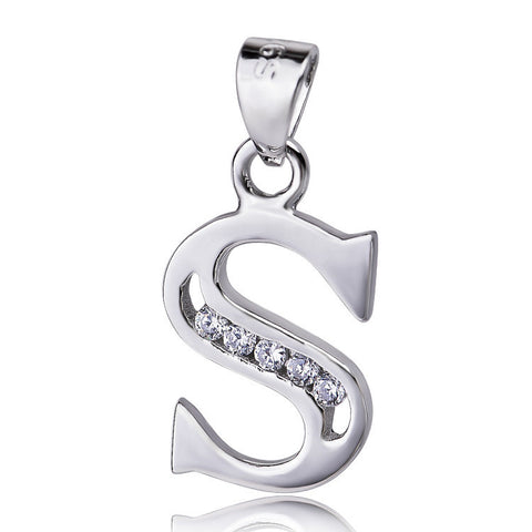 "Sterling Silver Cubic Zirconia Initial Letter S Pendant Necklace 18"" - ABC Necklace"