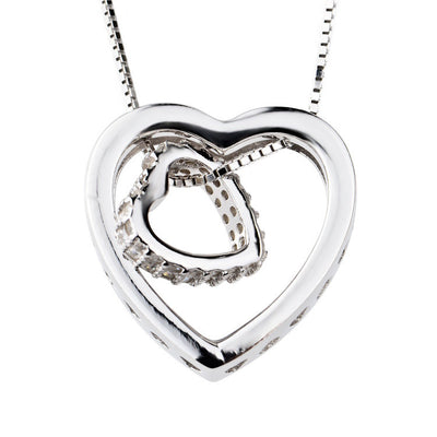 Sterling Silver Cubic Zirconia Heart in Heart Pendant Necklace with Box Chain - ABC Necklace