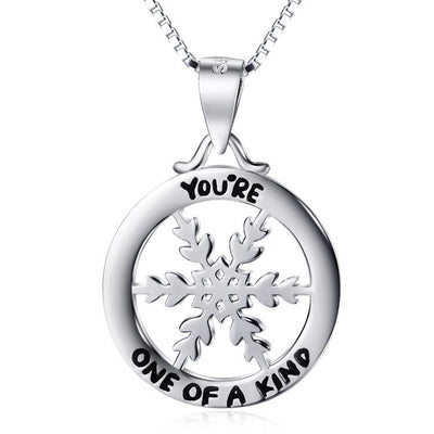 "Sterling Silver Snowflake Circle Pendant ""You Are One of a Kind"" Charms Necklace 18"" - ABC Necklace"