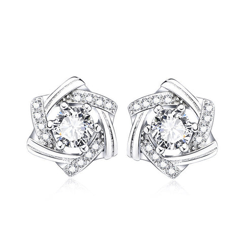 Sterling Silver Zirconia Star Stud Earrings - ABC Necklace