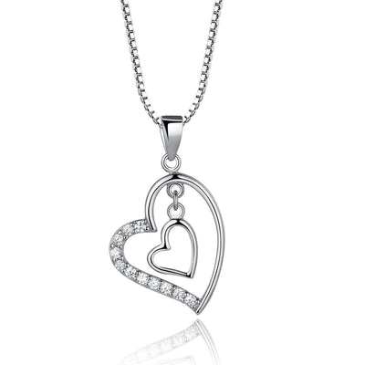 Sterling Silver Heart in Heart Necklace with Zircon - ABC Necklace