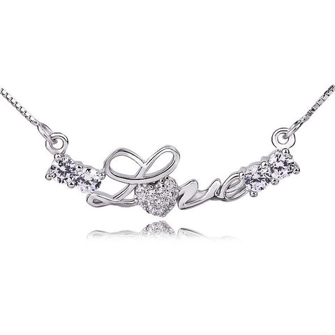 Sterling Silver Cubic Zirconia Love Necklace with Box Chain - ABC Necklace