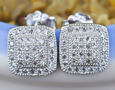 Sterling Silver Square Microsetting Zirconia Stud Earrings - ABC Necklace