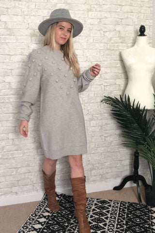 Grey Bubble Sweater Dress
