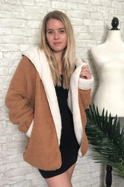 Cozy Up Open Front Jacket Camel