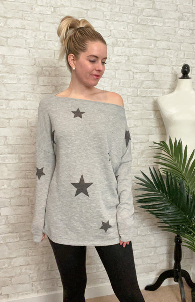 Slouchy Star Print Top