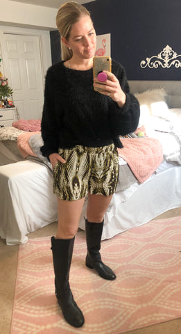 Casual 'N Cute Olive Pattern Shorts