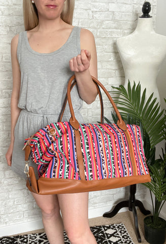 Cheetah Rainbow Stripe Weekender Bag