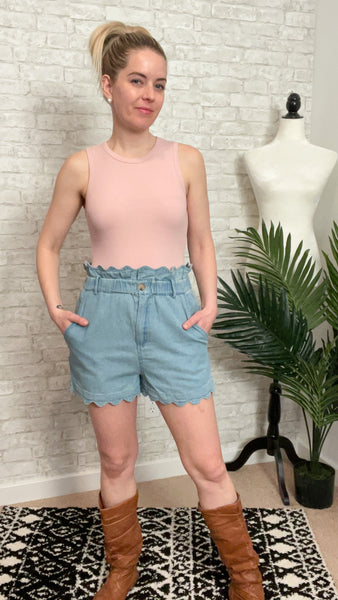 Cute As a Button Denim Shorts