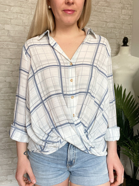 Country Blues Plaid Button Up