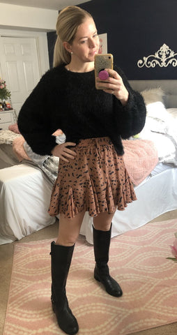 Rust And Dot Flare Skort