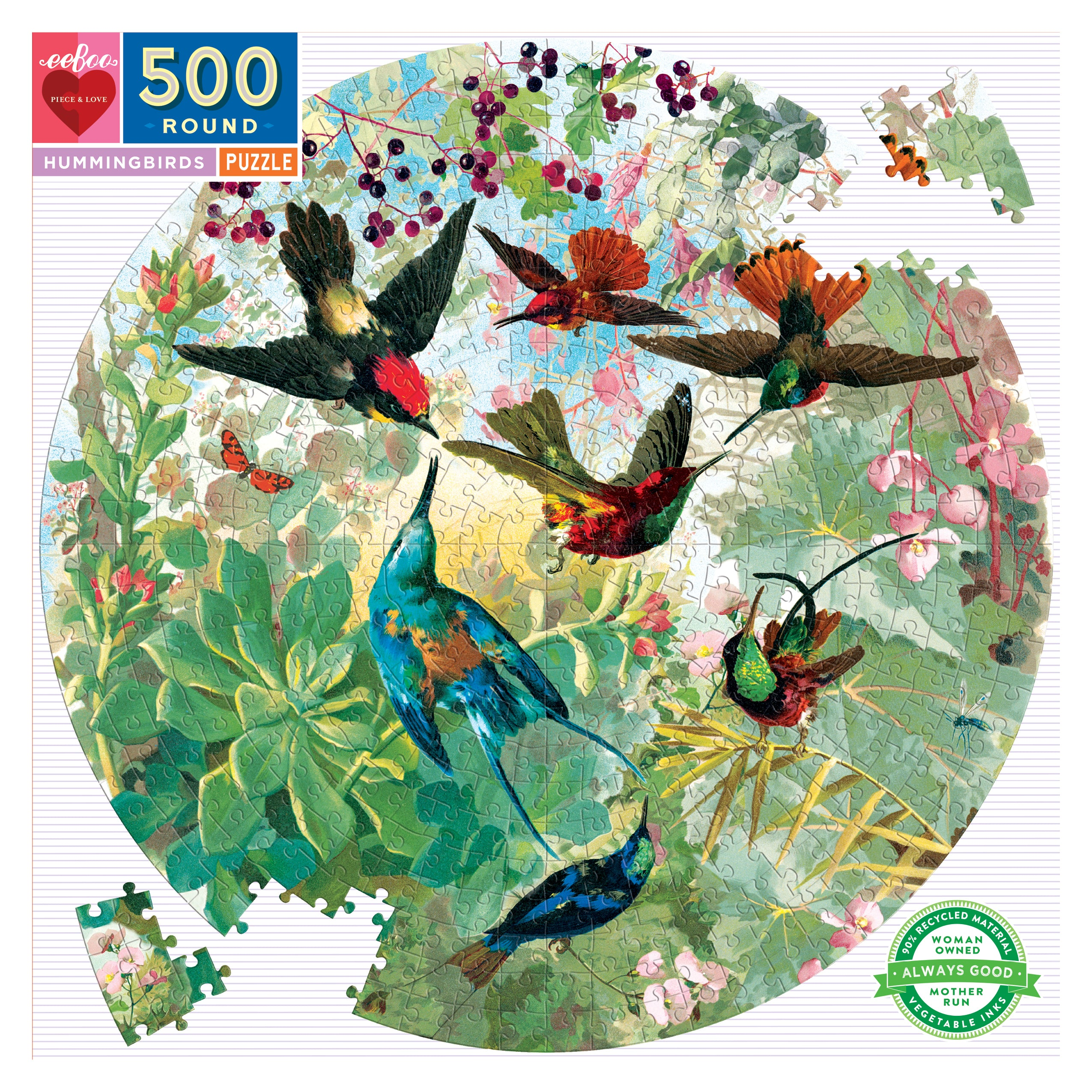 500 Pc Round Puzzle - Hummingbirds