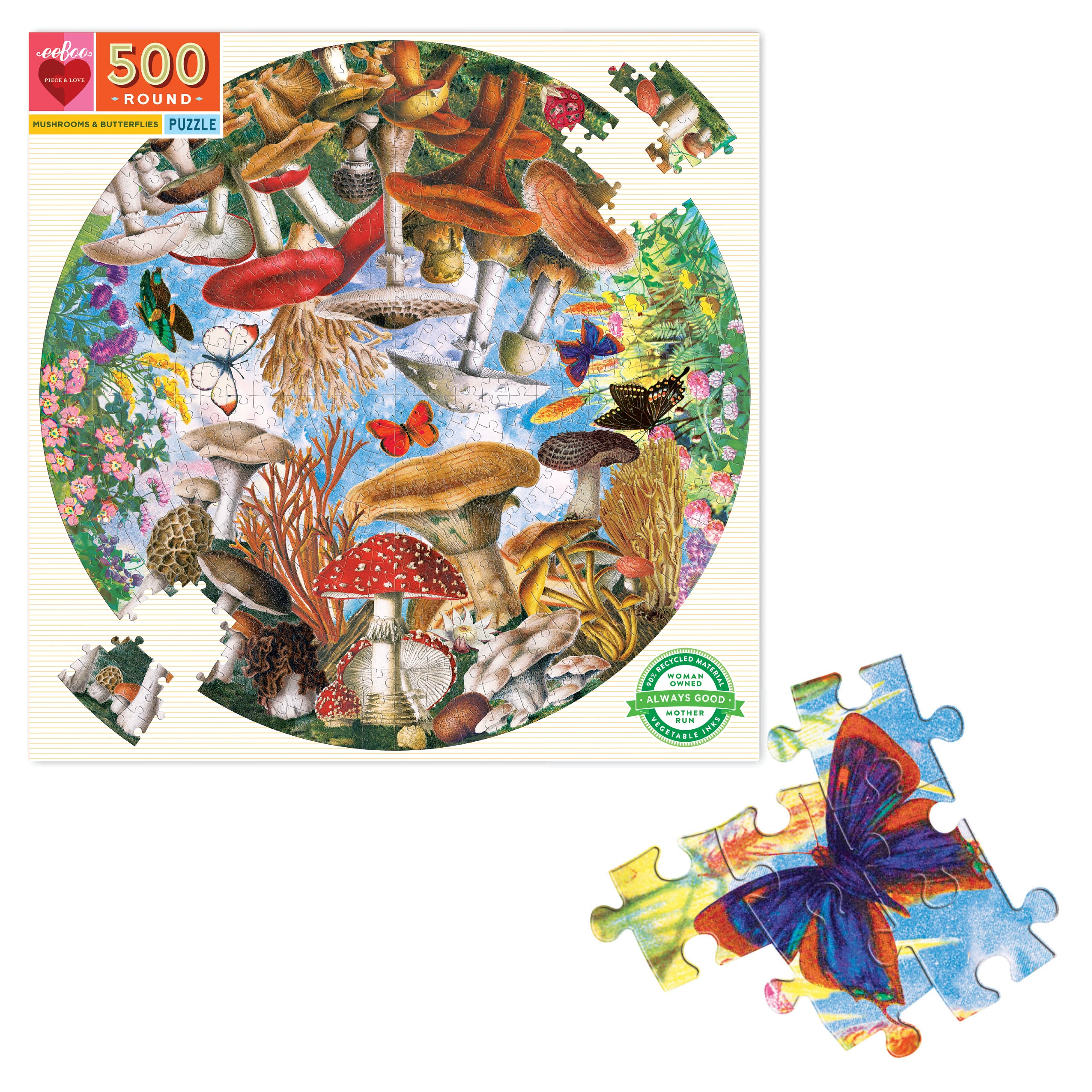 500 Pc Round Puzzle - Mushroom & Butterflies