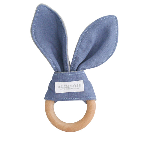 Alimrose Bailey Bunny Teether Chambray Linen