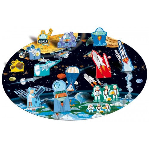 Travel, Learn & Explore Book & 3D Puzzle - From the Earth to the Moon - The Little Interior