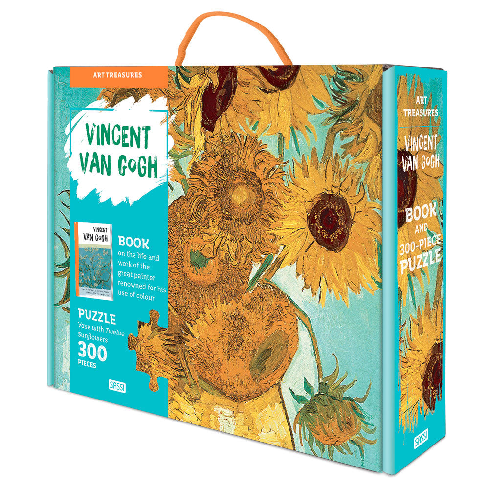 Sassi Puzzle and Book Set - Art Treasures - Vincent van Gogh Sunflowers - The Little Interior