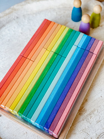 Gluckskafer - Rainbow Building Slats in Tray 32pc
