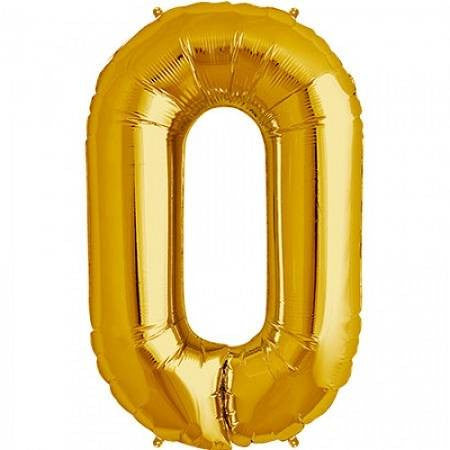 Gold No. 0 Foil Balloon