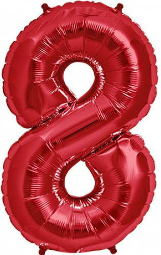 Red No. 8 Foil Balloon