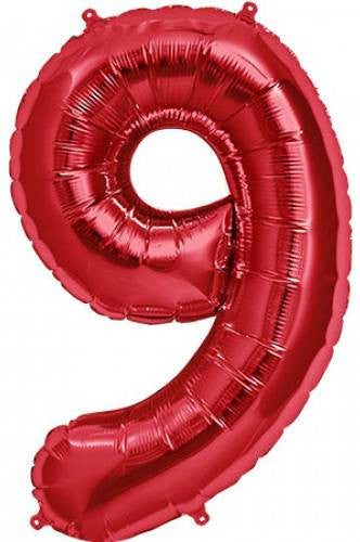 Red No. 9 Foil Balloon