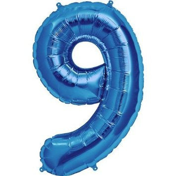 Blue No. 9 Foil Balloon