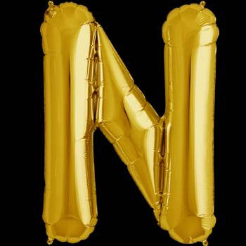 Gold Letter N Foil Balloon