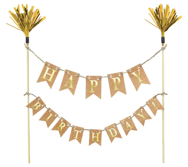 Gold Happy Birthday Cake Picks
