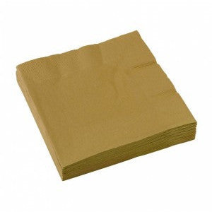 3 Ply Gold Beverage Napkins, 20ct