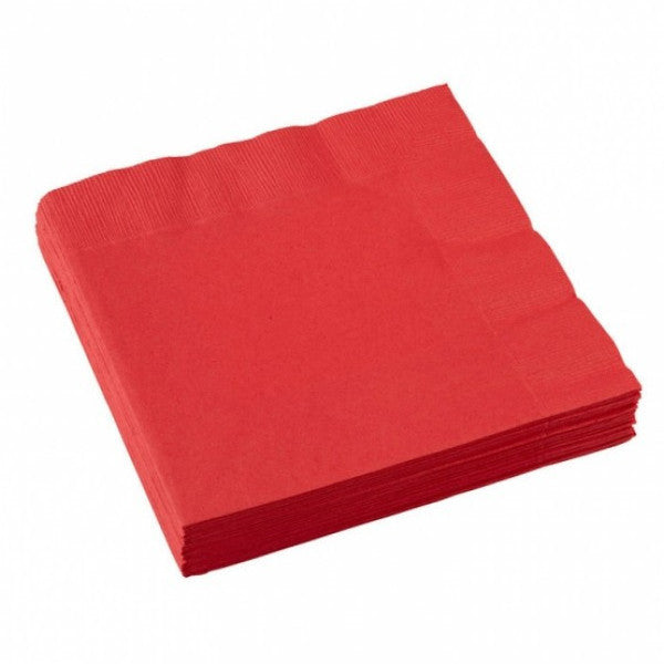 3 Ply Red Cocktail Napkins 20pcs