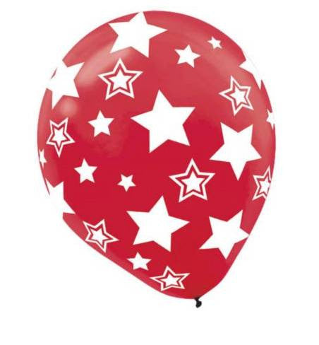 Apple Red Stars Printed Latex Balloon
