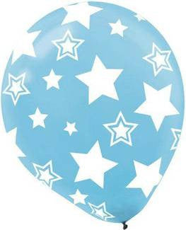 Caribbean Blue Stars Printed Latex Balloon