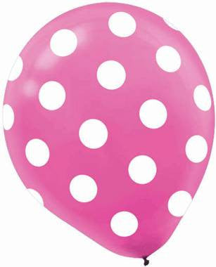 Bright Pink Dots Printed Latex Balloon