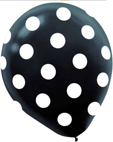 Jet Black Dots Printed Latex Balloon