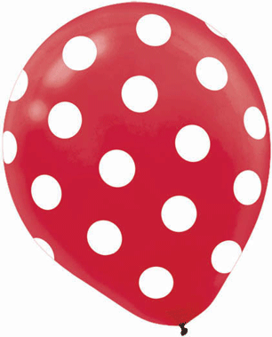 Red Dots Printed Latex Balloons, 6 Pcs