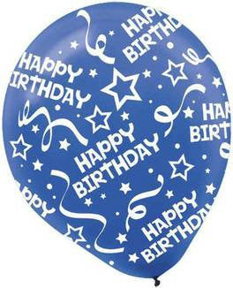Bright Royal Blue Birthday Confetti Printed Latex Balloon