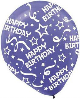 New Purple Birthday Confetti Printed Latex Balloon