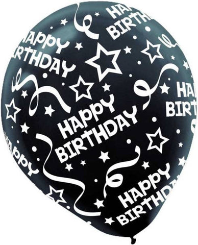 Jet Black Birthday Confetti Printed Latex Balloon