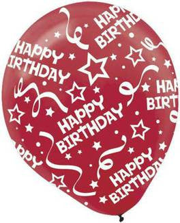 Apple Red Birthday Confetti Printed Latex Balloon