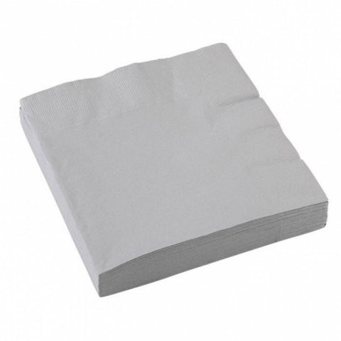 3 Ply Silver Beverage Napkins, 20ct
