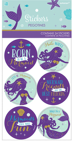 Mermaid Stickers, 24pcs