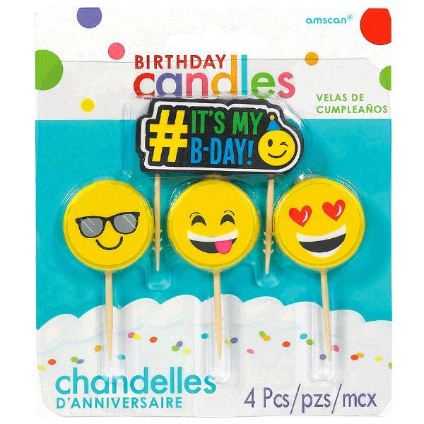 It's My Birthday Pick Candles - Emojis, 4ct