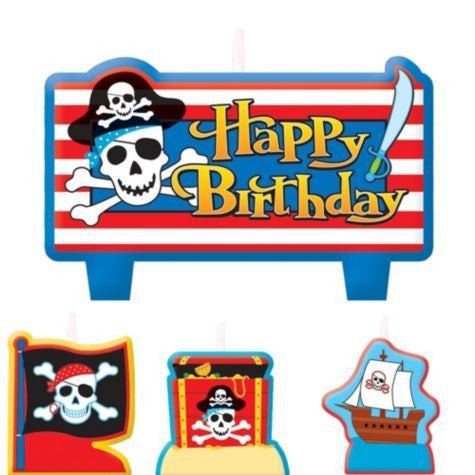 Pirate themed Candles 3pcs